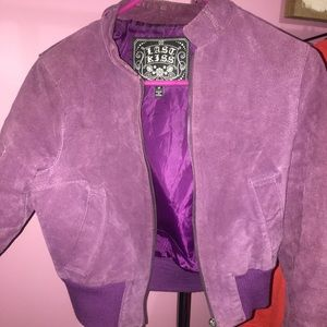 Purple Leather bomber